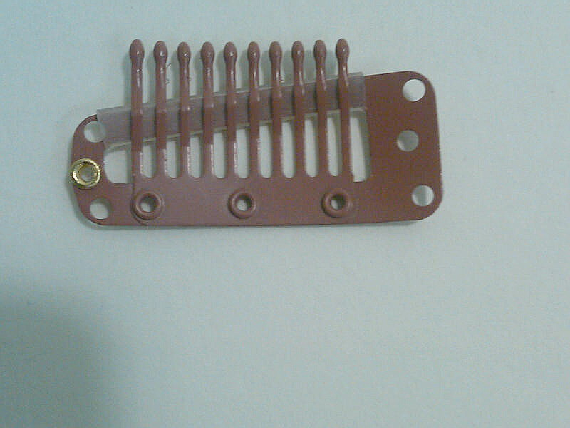 Hairpiece comb clip 10 teeth large med brown