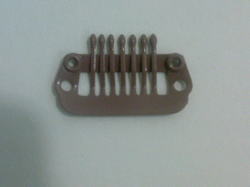 Hairpiece comb clip 7 teeth small med. brown