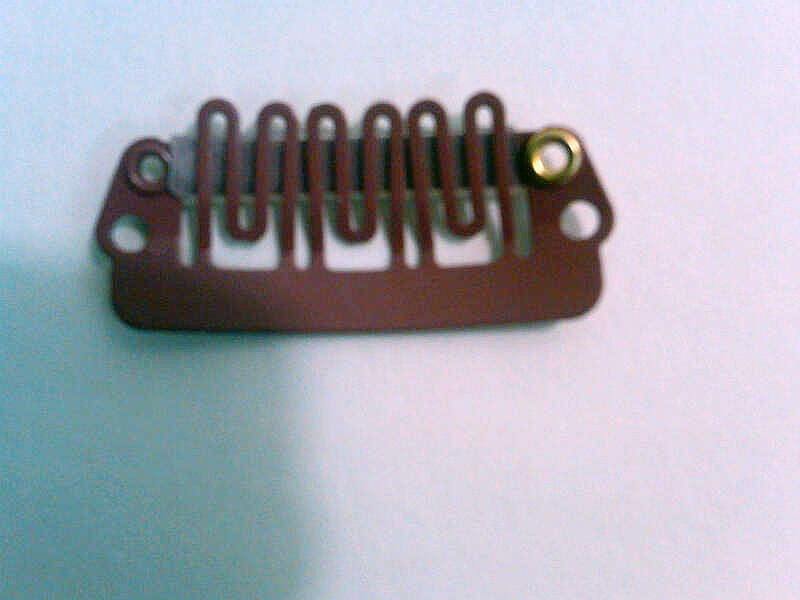 Hairpiece comb clip 6 teeth med. size med. brown
